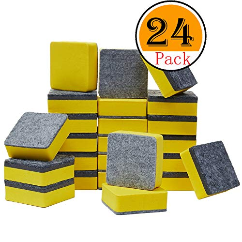officematters Cute Magnetic Chalkboard Whiteboard Dry Erasers Cleaner. Pack of 24 (24Pcs - Yellow)