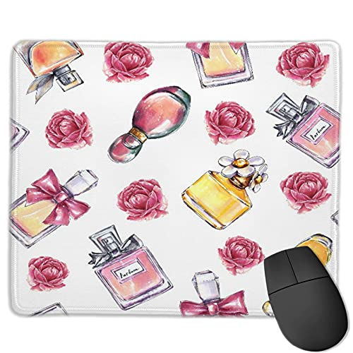 GEHIYPA Alfombrilla de ratón,Vintage Perfume Flores Belleza Y Moda, Base de Goma Antideslizante Alfombrilla de ratón para Juegos Alfombrilla Decoración de Escritorio 9.5'x7.9