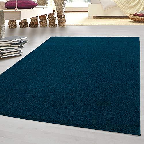 HomebyHome tappeto moderno a pelo corto, economico, tinta unita mélange, per salotto, camera da letto, corridoio, cucina, turchese, 200 x 290 cm