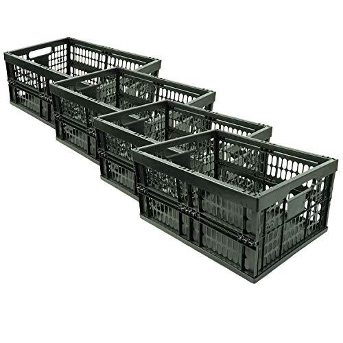 HRB 4 Stück stabile Profi Klappbox, 32 Liter Volumen pro Einkaufsbox klappbar, Klappboxen mit Maßen 48 x 35 x 23 cm, Einkaufskorb faltbar in der Farbe schwarz