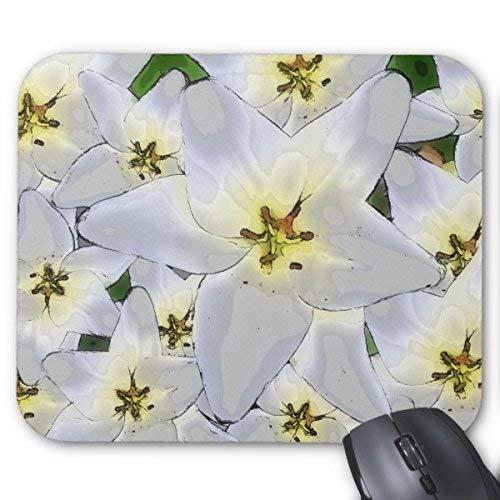 Rechteckige mauspads mousepad elegante blumenprobe von grauen weis-lilien