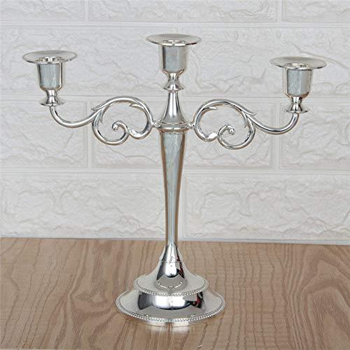 YHJGKO Candelabro,1 unid Antiguo candelabro de Oro Retro candelabro Alto de Bronce de Plata para Bodas, decoración de hogar de Metal Vintage, candelabros de Navidad, candelabro de Plata