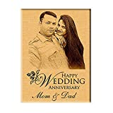 Incredible Gifts India Personalized Engraved Wedding Anniversary Wooden Photo Frame (Wood, 7 x 5 Inches)