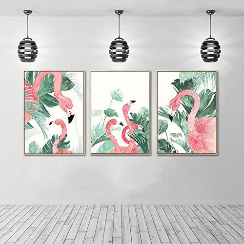 Flamingo Plant Canvas afdrukken schilderijen inkjet dieren kunstbeeld woonkamer slaapkamer wanddecoratie schilderij 80x100cmx3pcs No Frame