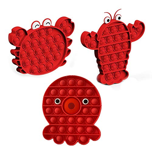 XZMY-TC Fidget Toys,Pop Bubble Sensory Toys for Children and Adults,Stress Reliever Toys, Silicone Toy for Kids, Parents -Lobster+Crab+Octopus-Red-3pcs