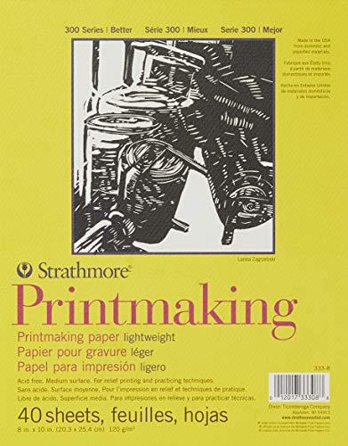 Strathmore Paper Pad 300 Series Lightweight Printmaking, 8'x10', White, 40 Sheets - 333-8