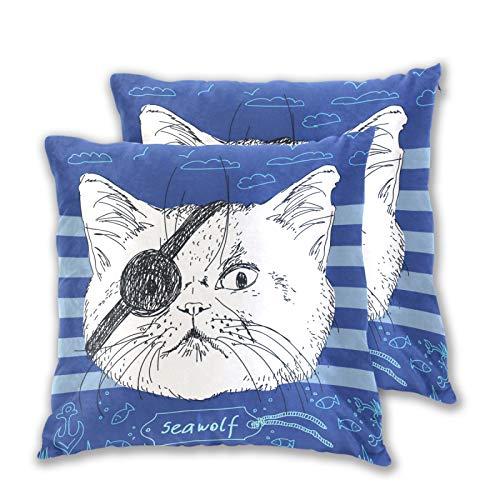 Emoya Juego de 2 fundas de cojín decorativas, diseño de gato pirata y lobo de mar, color azul, para sofá, coche, decoración de cama, 40 cm x 40 cm