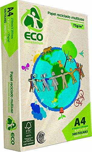 Papel Sulfite Reciclado, Jandaia, Eco Millennium, 42901, A4, 75g, 500 Folhas