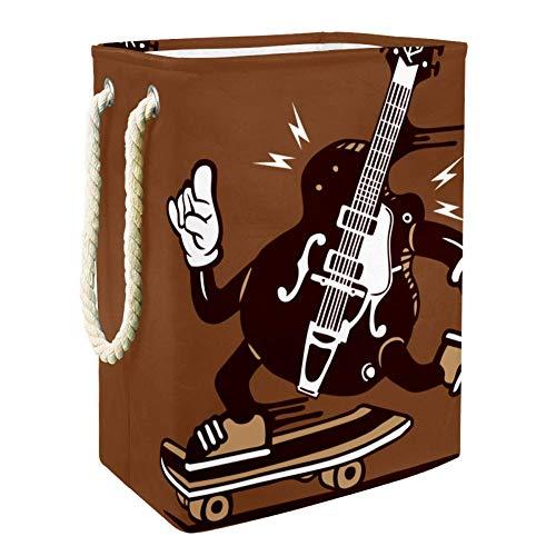 Gitarren-Scooter Brown Übergroßer multifunktionaler Faltbarer Wasserdichter Haushaltswäschekorb mit Aufbewahrungsbox 49x30x40.5cm