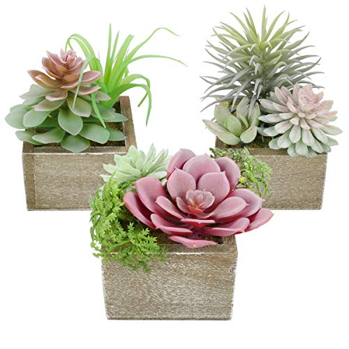 Mingfuxin Artificial Succulents Plants, Mini Assorted Green Fake Faux Succulent Plants Pots Potted for Home Office Living Room Table Desk Plants Decor, Set of 3 Succulents Plants Artificial