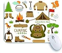 ECOMAOMI 可愛いマウスパッド キャンプ用品アイコンセットのセット 滑り止めゴムバッキングマウスパッドノートブックコンピュータマウスマット