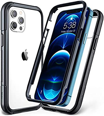 Mkeke Compatible with iPhone 12 Case, Compatible with iPhone 12 Pro Case 6.1 Inch Dual-Layer with Shockproof Bumper, Black/Clear