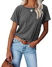 Camiseta Casual De Manga Corta Suelta Cruzada A Juego con Color De Blusa para Mujer