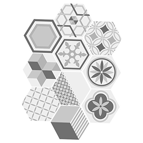 10 stk. Vintage Hexagon Fliesen Aufkleber, Deko Fliesenfolie Fliesensticker für Bad Küche - # 3