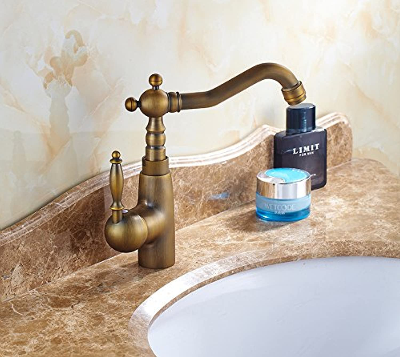 Caribou Waschtischarmatur Wasserhahn Spültisch Küche Waschtisch Waschenbecken Bad Antikes Einloch Kupfer heies und kaltes Wasser
