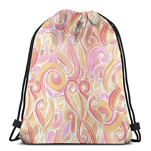 XCNGG Bolsa con cordón Bolsa con cordón Bolsa portátil Bolsa de gimnasio Bolsa de compras Bundle Backpack Outdoor Shopping Knapsack Round Curles Vector Image Rope-Pulling Bag Sports Bag Suitable for F