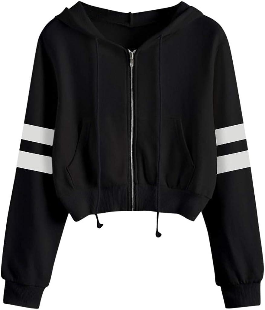 Women Hoodies Basic Lightweight Pullover Hoodies Teen Girls Crop Tops Long Sleeve Zip-Up Sweatshirt with Pocket