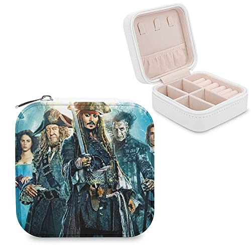 Caja de joyería piratas del Caribe de piel sintética de viaje portátil, para collar, pendientes, pulseras, anillos, relojes, caja de almacenamiento para mujeres