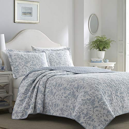 Laura Ashley Home Amberley Chic   Quilt Set-Ultra Soft All Season Bedding, Reversible Stylish Bedspread With Matching Sham(s), Full/Queen, Spa Blue