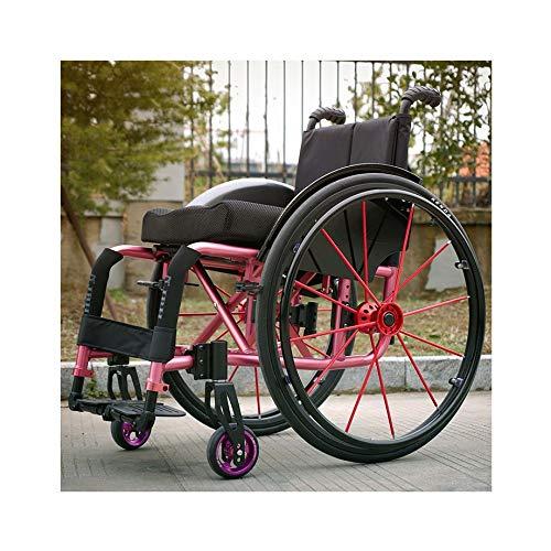 ZGQP Sillas de Ruedas Deportivas Sillas de Ruedas manuales for discapacitados Sillas de Ruedas de Transporte Manual de Aluminio Ligero, portátil y Plegable (Color : Red, Size : 80X54CM)