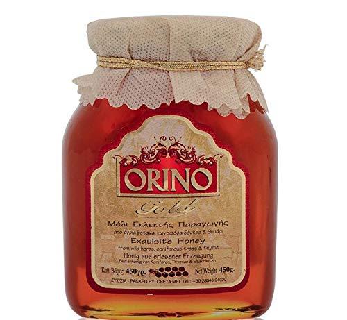 Griechischer Honig Orino Gold 450 g im Glas Thymian Honig Pinien Wildblüten Honey Kreta