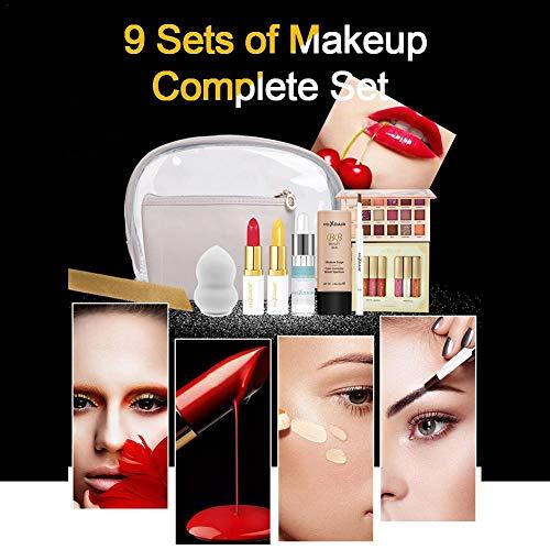 Luckyx 9 Teile/Satz Make-Up Kit Lippenstift Hochglanzpuder Lidschatten Foundation Augenbrauenstift...