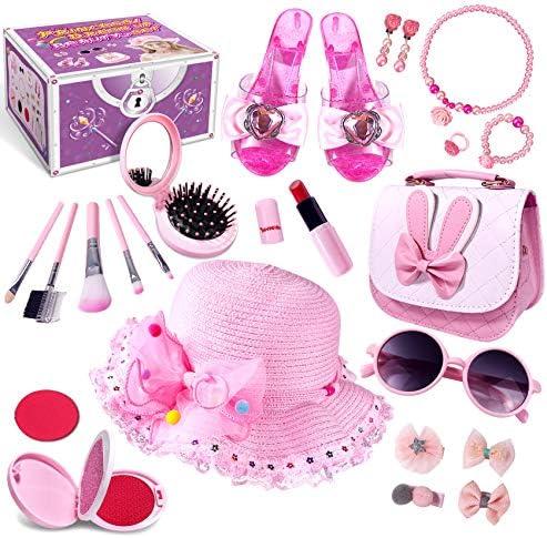 Kids Pretend Dress Up Makeup Set Princess Role Play Kit Fake Makeup Jewelry Toys Accessories product image