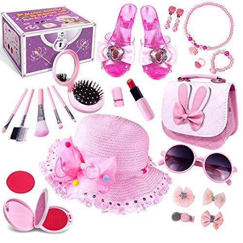 Kinderschminke Mädchen, Prinzessin vorgeben Verkleiden Set, Spielzeug Geschenke für Alter 3 4 5 6 7 8+ Jahre alt Mädchen Kinder, Gefälschtes Make-up Rolle Spielen Schmuck Zubehör Kosmetisches (Large)