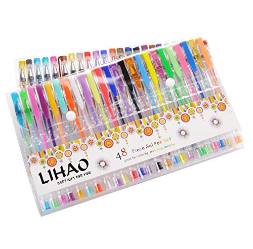 LIHAO 48 Plumas Gel Colores Bolígrafos de Tinta Gel Ink Pen Set