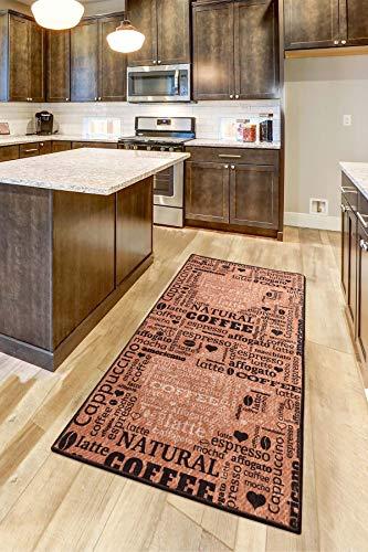 Teppich Moderner Küchenteppich Gel Läufer Küchenläufer Grau Weiß Schwarz mit rutschfestem Bodenmuster mit Schriftzug Coffee Macchiato (Karamell, 100 x 300 cm)