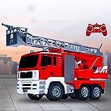 YLJYJ Red Ladder Rescue Car Boy Coche de Juguete con tracción en Las Cuatro Ruedas Control Remoto Chorro de Agua Camión de Bomberos Juguete eléctrico de Carga de Sonido y luz (Coche RC Inteligente)