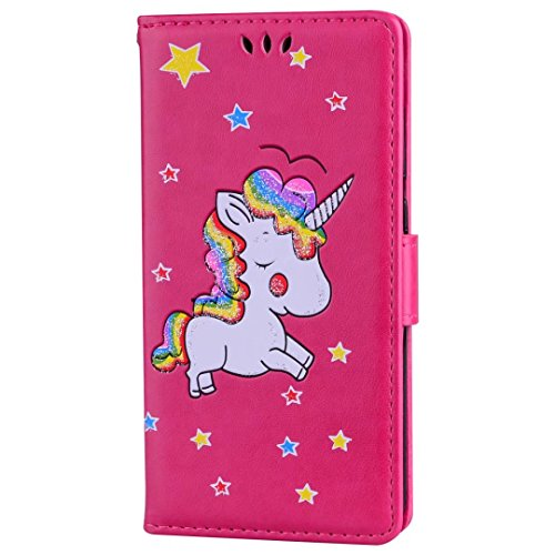Huawei P8 Lite koffer. unicorn lederen cover wallet card slot functie en Sparkling Glitter Star patroon cover, 1# Rose Red-01, Huawei P8 Lite 2017
