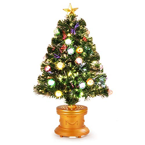 Goplus 3FT Pre-Lit Entrance Tree, Fiber Optic Christmas Tree with The Plastic Colorful Balls & Golden Star Solid Base Premium Decorations Full Tree for Indoor and Doorway
