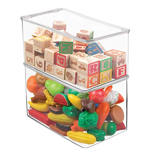 mDesign Stackable Closet Plastic Storage Bin Box with Lid - Container for Organizing Child's/Kids Toys, Action Figures, Crayons, Markers, Building Blocks, Puzzles, Crafts - 7 High, 2 Pack - Clear