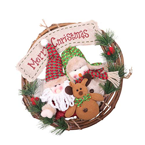 BESPORTBLE Merry Christmas Door Wreath Cute Reindeer Santa Snowman Plush Figurine Doll Holiday Hanging Wreath Small Grapevine Wreath for Xmas Decoration Hanging Ornament