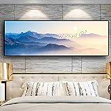 Puesta de sol montaña natural pintura abstracta arte de la pared imágenes pintura arte de la pared para la decoración del hogar de la sala de estar 20x60 CM (sin marco)