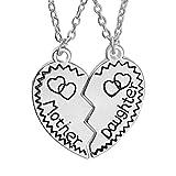 LUOEM - Juego de collares para madre e hija, a juego, con colgante rompecabezas de corazón partido, colgantes para mamá, joyería regalo (plata)