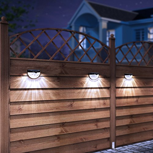 OTHWAY Solar Fence Post Lights Wall Mount Decorative Deck Lighting, Black, 4 Packs