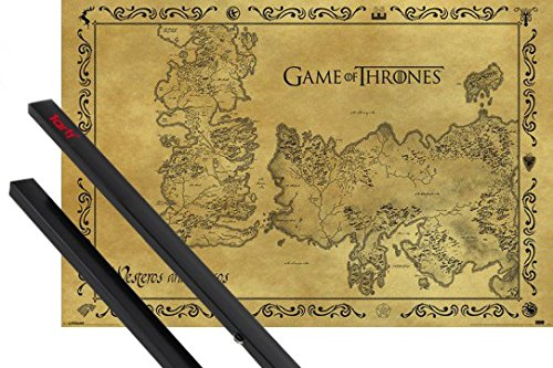 1art1 Juego De Tronos Póster (91x61 cm) Mapa Antiguo De Westeros Y Essos, Estilo Vintage Y 1 Lote De 2 Varillas Negras