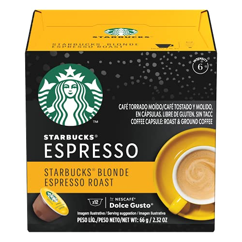 Starbucks Coffee by Nescafe Dolce Gusto, Starbucks Blonde Espresso Roast, Coffee Pods, 12 capsules, Pack of 3 (Packaging May Vary)