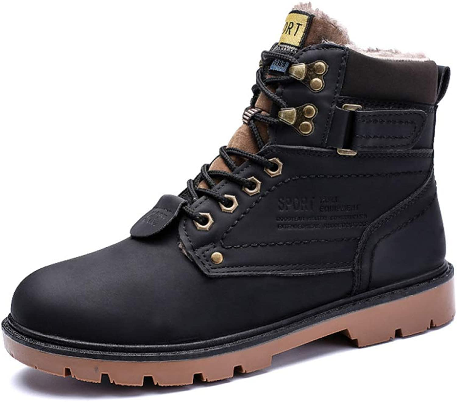 Men'S Boots Martin Boots Winter Plus Velvet Warm Cotton shoes Yellow Boots In The High Top Hiking Boots