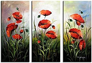 Noah Art-Modern Flower Art, Red Poppies Spring Flowers Picture 100% Hand Painted Flower Oil Paintings on Canvas Wall Art, 3 Piece Framed Floral Paintings for Bedrooms Wall Decor, 12x24inch x 3