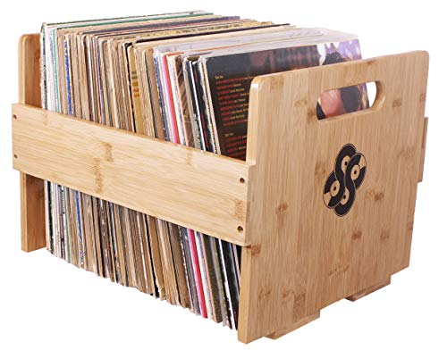 Sound Stash High End Bamboo Record Crate, Holds Up to 80 Records (Natural)