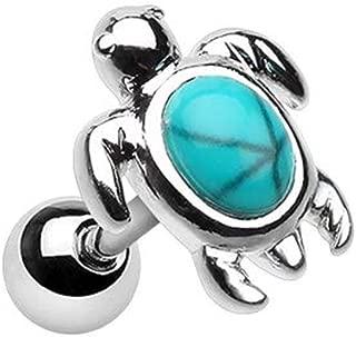 Wild Marine Synthetic Turquoise Stone Turtle WildKlass Cartilage Tragus Earring
