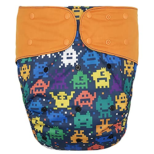 Cloth Diaper Cover - Reusable Incontinence Protective Briefs for Special Needs Big Kids, 10-15 Years (Retro Game, Youth)