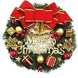 Navidad Artificial de la Guirnalda de la Navidad Que cuelga de la Guirnalda de la Guirnalda con el Ornamento de la Puerta del Bowknot Campanas Frente para Fiestas Pared medianera Decoración
