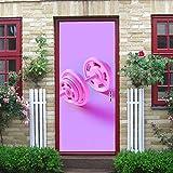 DUKAI Moderne Kunst 3D Tür Aufkleber, rosa Hantel 3D 3D Rendering Peel und Stick abnehmbare Vinyl...