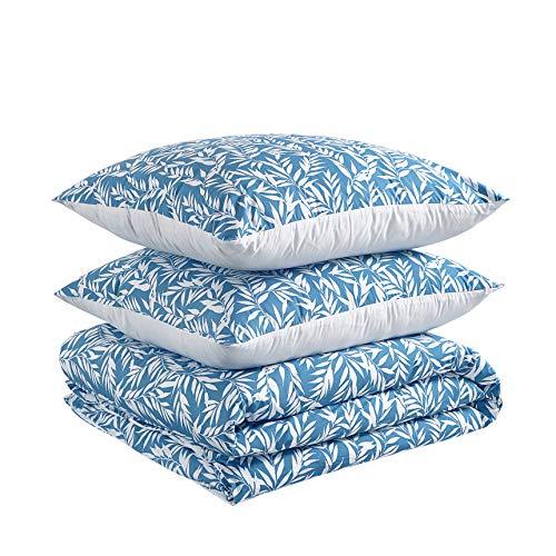 Amazon Basics - Juego de funda nórdica 100% algodón - 260 x 240 cm / 65 x 65 cm, Verde apagado