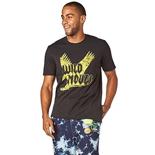 Zumba Fitness Hombre Wild Moves ASYMM etrical té Hombres Tops, Todo el año, Hombre, Color Bold Black, tamaño Medium