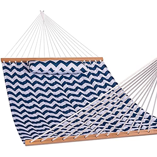 XiYou Double Hammock with Pillow, Hammocks Fabric Spreader Bar Swing for Two Person, Sailor Stripe